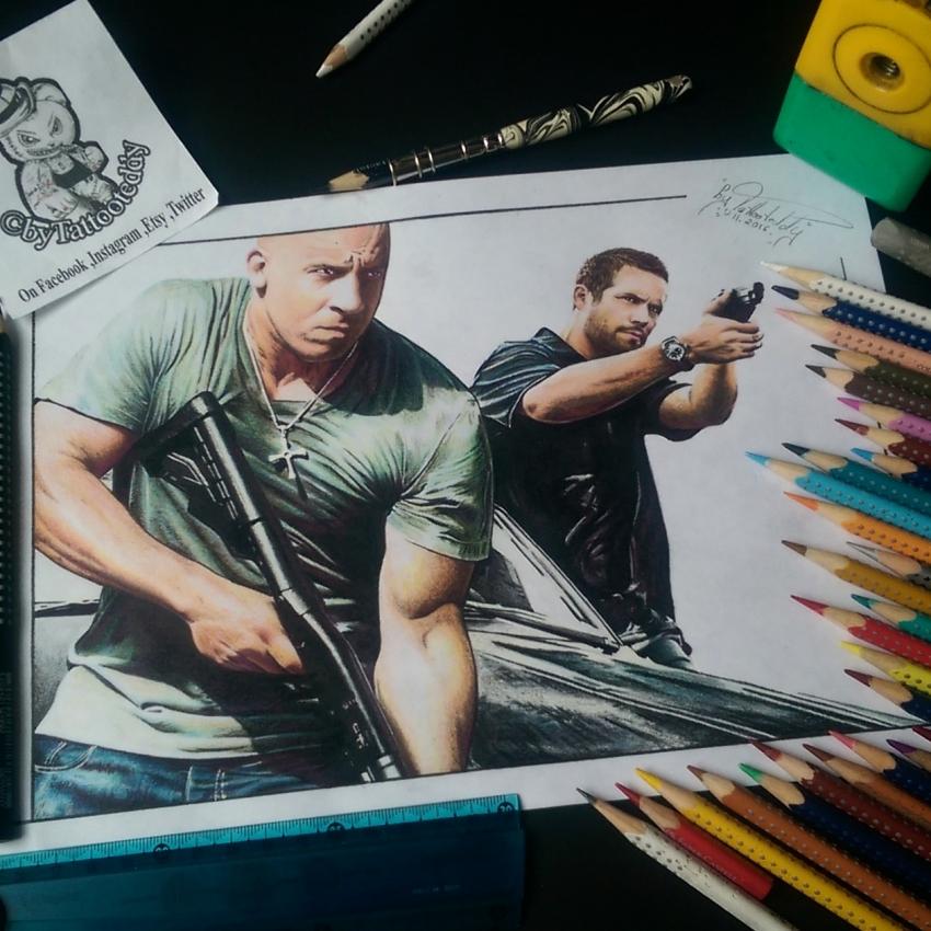 Paul Walker, Vin Diesel by byTattooteddy